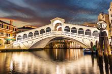 The Rialto Bridge Night View, No People, Venice, Italy