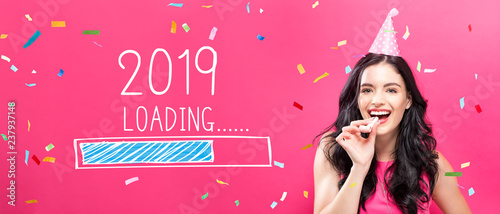 Poster Hoogte schaal Loading new year 2019 with young woman with party theme on a pink background