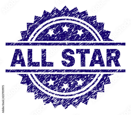 ALL STAR stamp seal watermark with distress style  Blue