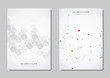 Vector brochure or cover design. Geometric abstract background with connected dots and lines. Molecular structure and communication. Digital technology background and network connection.