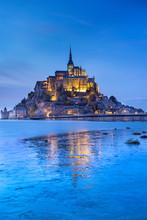Lights Of Castle In Twilight Time In Low Tide In France