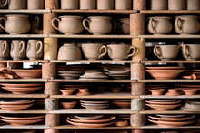 Crafted Pottery In Portugal, Still Life Of Hand Made Pottery And Ceramic Bowls