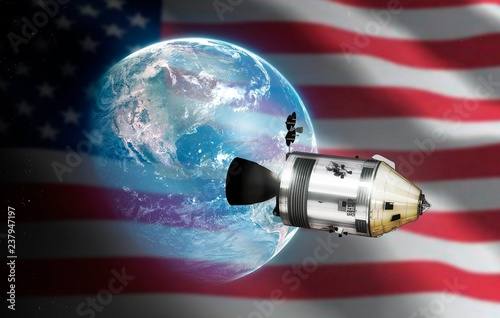Deurstickers Nasa Apollo CSM, Earth, and US flag illustration