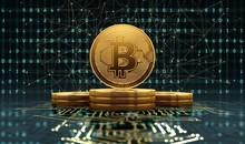 Golden Bitcoins On Circuit Board, Illustration