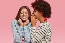 Black Ethnic Woman Whispers Secret To Her Caucasian Female With Toothy Smile, Gossip Together, Discuss Good News, Isolated Over Pink Background. Overjoyed Lady With Delighted Expression Hears Rumor