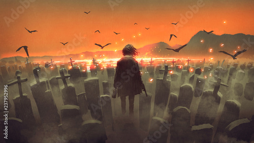 Foto auf AluDibond Rotglühen drunk man with a gun walking in a graveyard, digital art style, illustration painting