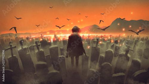 drunk man with a gun walking in a graveyard, digital art style, illustration painting