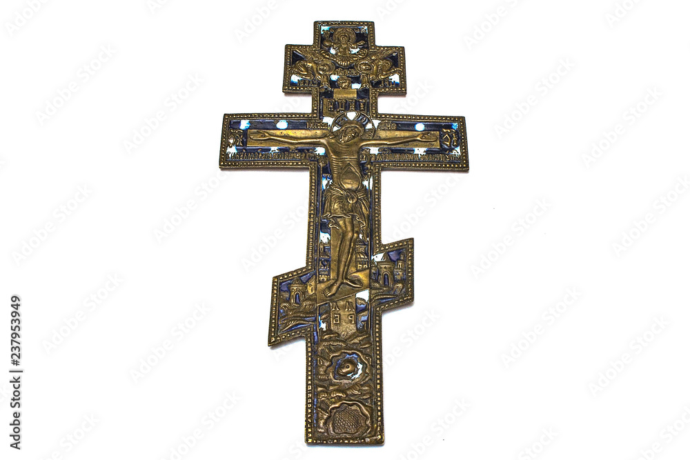 Fototapety, obrazy: cross old orthodox copper on white isolated background