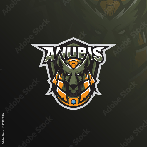 Photo anubis logo mascot  design  vector with modern illustration concept style for badge, emblem and tshirt printing