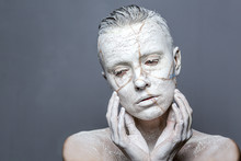 White Statue Woman Covered With Clay Effect Japanese Broken Jug On Face Kintsugi