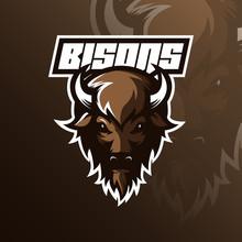 Bison Logo Mascot  Design Vect...
