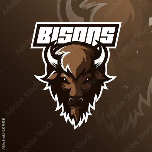 Carta da parati bison logo mascot  design vector with modern illustration concept style for badge, emblem and tshirt printing