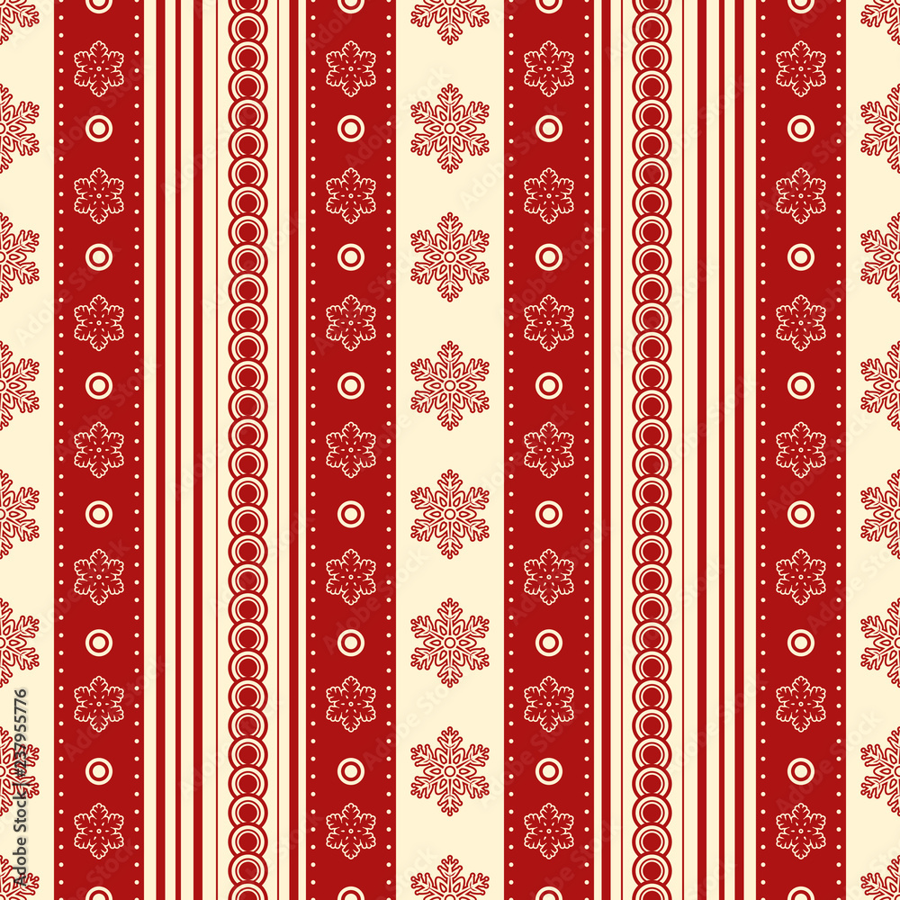 Bright christmas seamless texture. Red and yellow snowflakes and patterns. Winter mood. Eps 10 vector.