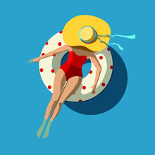 A Young Caucasian Woman With Yellow Hat Sunbathing On A White Rubber Ring In Swimming Pool - Hand Drawn Vector Illustration