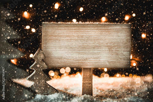Fototapeta Christmas Tree, White Snow, Copy Space, Snowflakes, Sign obraz