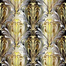 Baroque Damask Vector Ornate 3d Seamless Pattern. Decorative Greek Key Meander Borders Ornament. Floral Ornamental Vintage Background. Antique Baroque Victorian Style Old Ornament. Modern Gold Design