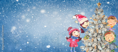 Watercolor christmas background with children. - 237964914