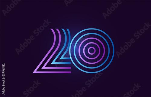 Fényképezés  blue pink 20 gradient number logo icon design