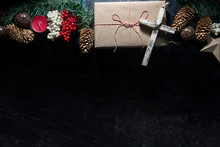 Cross On A Christmas Present Background