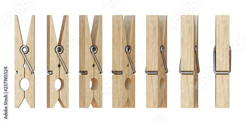 Fotomural  Wooden clothespins 3D