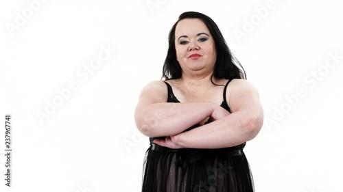 Готовое видео Plus size <b>fat</b> woman wearing black lace lingerie ...