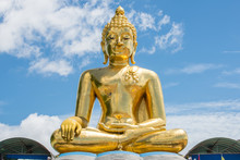 Big Golden Buddha Statue With Lanna Style Located At Golden Triangle The Area Where The Borders Of Thailand, Laos, And Myanmar Meet At Mekong Rivers. Chiang Rai Province Of Thailand.