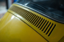 Close Up Of Yellow Classic Car...