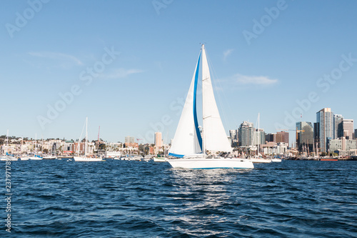 Spoed Foto op Canvas Stad gebouw A sailboat in San Diego bay with the downtown skyline in the background.