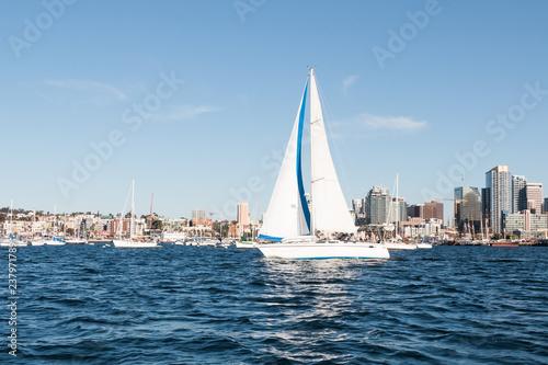 Foto op Plexiglas Stad gebouw A sailboat in San Diego bay with the downtown skyline in the background.