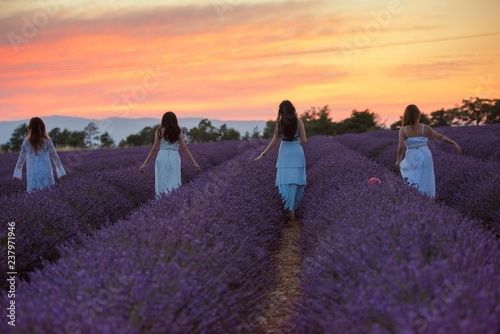 Printed kitchen splashbacks Eggplant group of famales have fun in lavender flower field