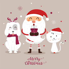 Christmas Greeting Card With Santa Claus,Cat And Dog.