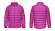canvas print picture - Blank template pink down jacket with zipped, front and back view isolated on white background. Mockup winter sport jacket for your design