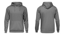 Blank Grey Male Hooded Sweatshirt Long Sleeve, Mens Hoody With Hood For Your Design Mockup For Print, Isolated On White Background. Template Sport Winter Clothes