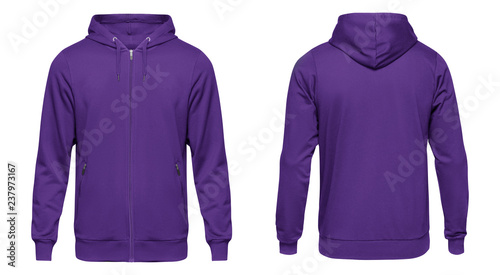 Blank violet male hoodie sweatshirt long sleeve, mens hoody with zipped for your design mockup for print, isolated on white background Fototapeta