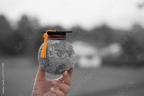 Education World Knowledge Ideas Graduation Cap On Students Holding