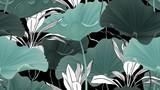Botaniczny bezszwowy wzór, lotosowi liście, rośliny i winogrady na czarnym tle - 237975511