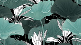 Botanical seamless pattern, lotus leaves, plants and vines on black background - 237975511
