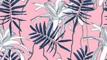 Botanical Seamless Pattern, Blue Leaves, Bromeliaceae Plant And Vines On Pink Background, Blue And Pink Tones