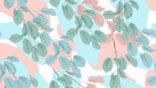 Botanical Seamless Pattern, Green, Blue And Pink Leaves With Abstract Shapes On White Background