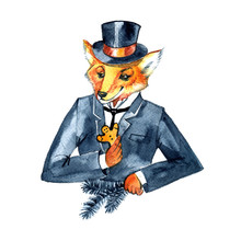 Christmas Fox In A Suit And A Top Hat. Gentlemen's Christmas. Vintage Style, Old England, Steampunk. Watercolor Illustration Isolated On White Background.