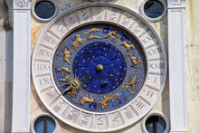 Detail Of The Clock Tower On Piazza Di San Marco In Venice, Italy.