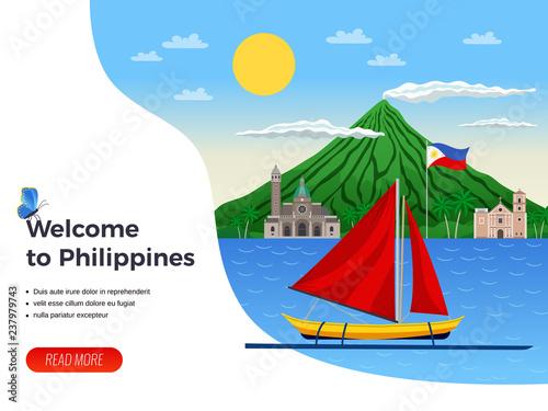 Obraz na plátně Philippines Tourism Illustration