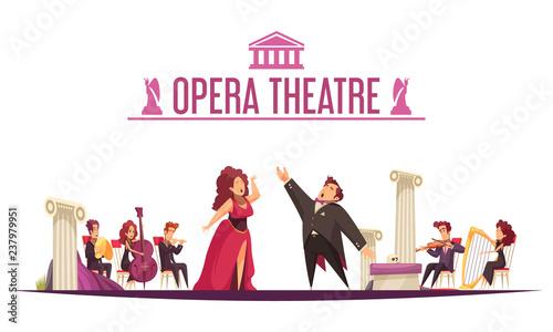 Theater Orchestra Performance Cartoon Tapéta, Fotótapéta