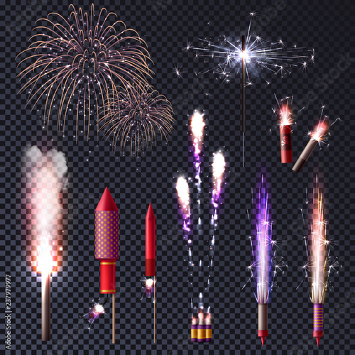 Fotografie, Tablou Sparkler Fireworks Transparent Set