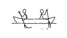 Illustration Of Two Men In A Boat.  Each Team In Their Own Way. Conflict Of Interest. Metaphor. Contour Picture. Leader Race. Ambitions Bosses.