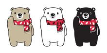 Bear Vector Polar Bear Christmas Tree Scarf Santa Claus Xmas Cartoon Character Icon Logo Illustration Doodle