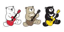 Bear Vector Polar Bear Guitar Bass Ukulele Music Cartoon Character Icon Logo Illustration