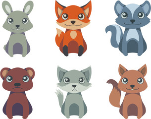 Collection of vector forest wild animal illustrations