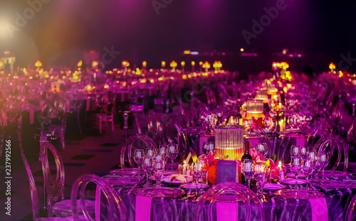 Stampa su Tela Pink and Purple Christmas Decor with candles and lamps for a large party or Gala