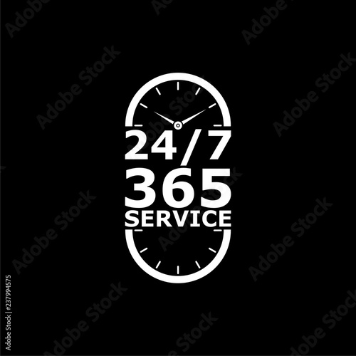Fényképezés  Open 24/7 - 365, 24/7 365 icon or logo on dark background